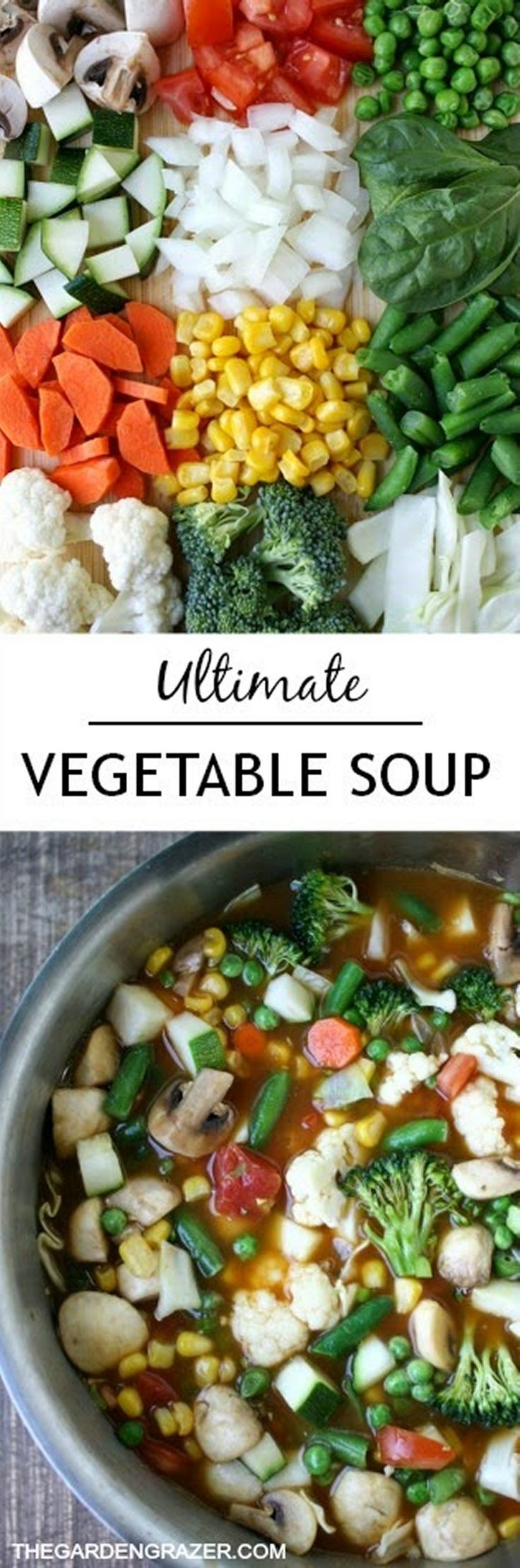 """""""Ultimate Vegetable Soup"""" by Kaitlin on The Garden Grazer; Makes about 8 servings; """"Don't feel like you have to measure everything exactly. I prefer the 'chop and toss' approach when making soup ;) Adaptions are endless with this versatile recipe. You can even try quinoa, rice, herbs, beans, barley, etc."""""""
