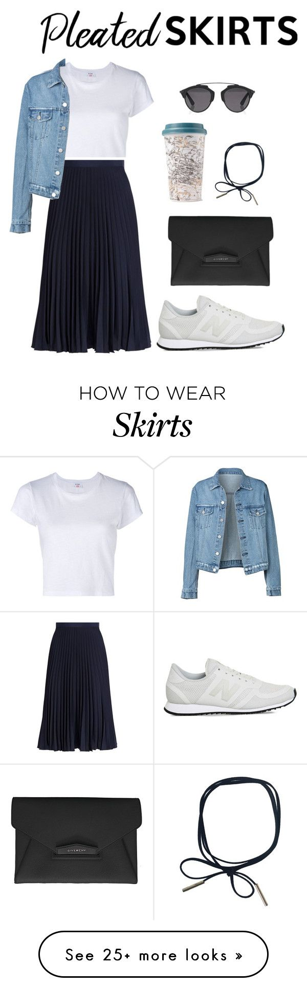 """""""Pleated skirt"""" by zerinafe on Polyvore featuring RE/DONE, MICHAEL Michael Kors, New Balance, Givenchy, Christian Dior and pleatedskirts"""