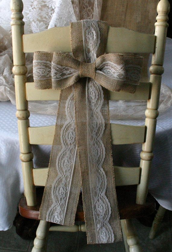 Burlap pew bows for chairs, burlap wedding decor, shabby chic, country chic, rustic chic, French country, cottage chic wedding,. $12.00, via Etsy.
