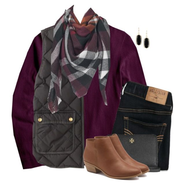 Plum sweater, vest & blanket scarf