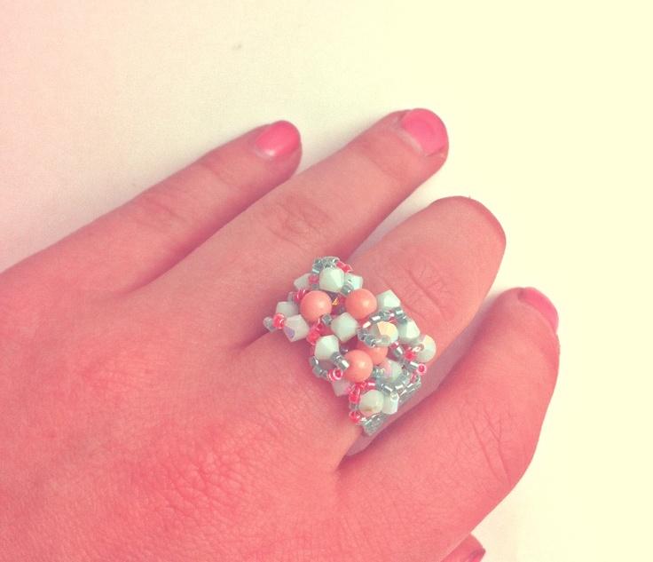 Flat square stitch swarvoski ring! Handmade.
