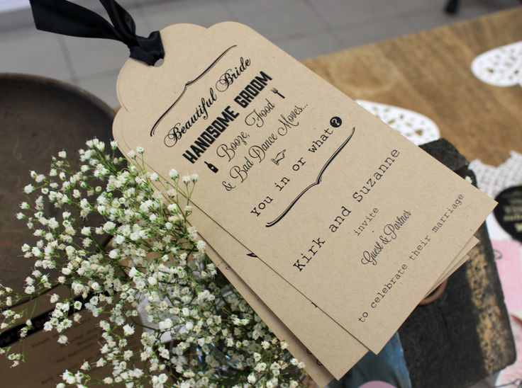 Quirky Modern Style Wedding Invitation, 3 Tags Filled With Info On The  Destination Wedding All