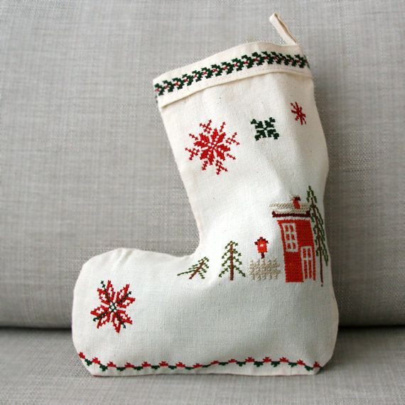 Christmas Stocking Embroidered Christmas Stocking by WISHsupplies, €13.00