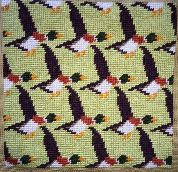 Modern Tapestry: Unique Handmade  Flying Ducks  Sampler