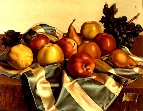 Tamara de Lempicka. 1939 - 1952. Still Life of Fruits and Silk Drape