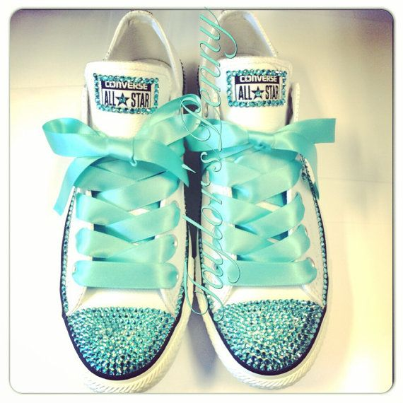 WANT THESE!!! My favorite color AND bling?! YES PLEASE!! Women's Custom Bling Converse for bridesmaids  by TaylorsPenny on Etsy