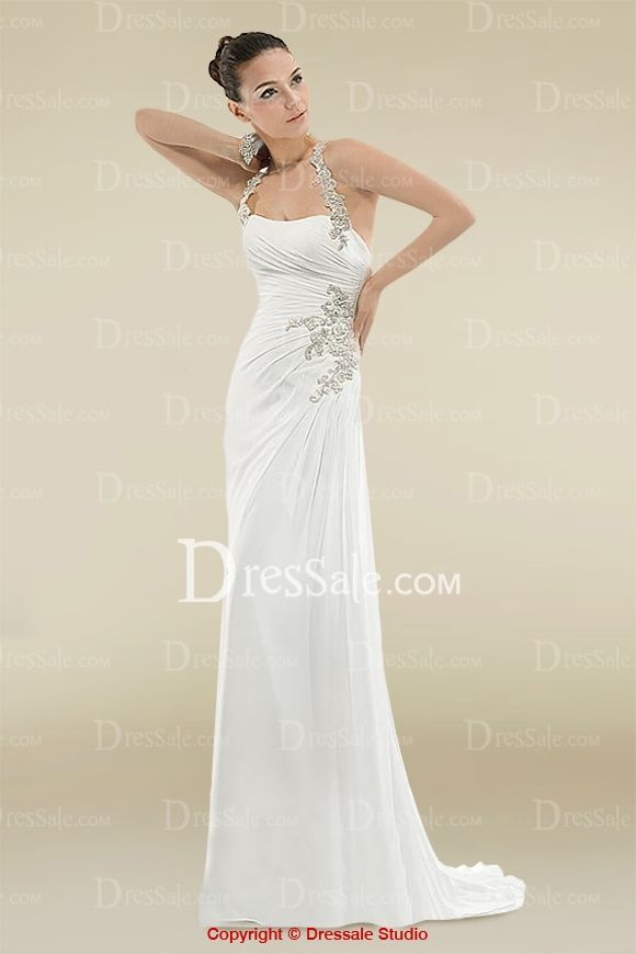 Magnificent Halter Dipped Wedding Dress with Side-draped