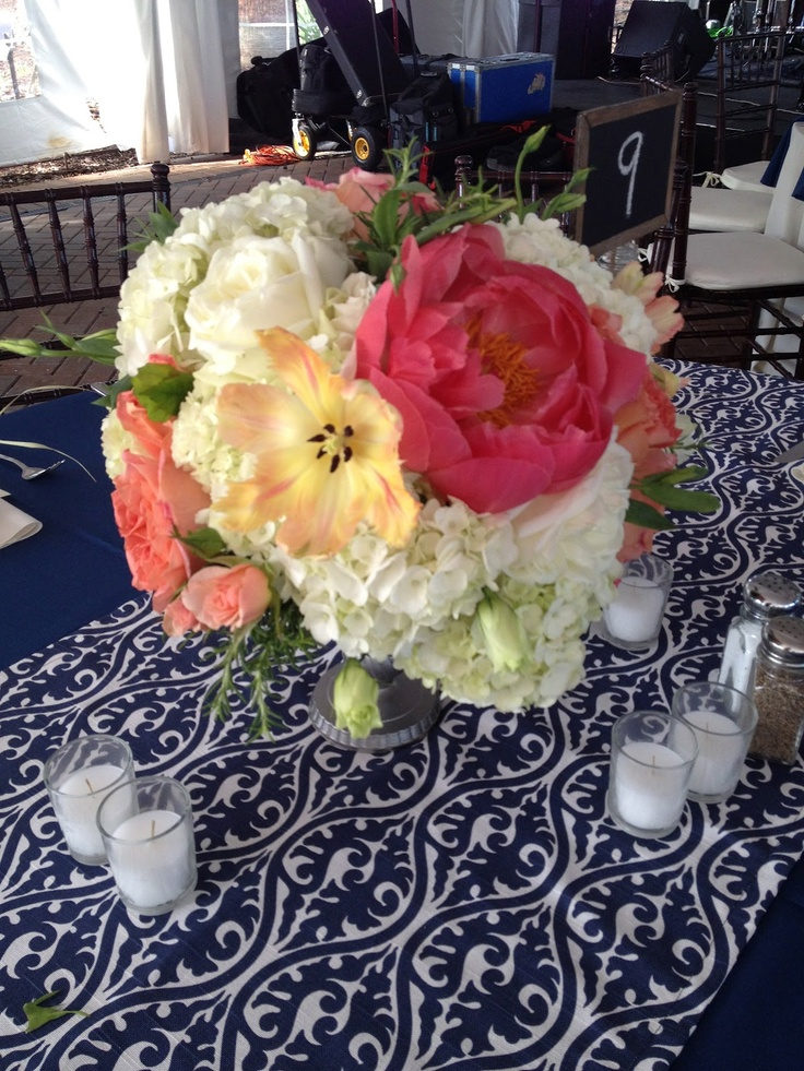 My son and daughter-in-law's wedding reception table decorations made it online!  Beautiful!White Flower, Wedding Reception