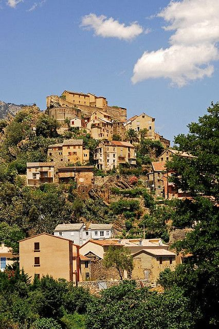 Hillside Village of Corte, Corsica, France
