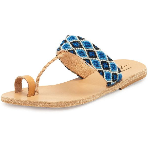 Elina Lebessi Dimitra Woven T-Strap Sandal ($185) ❤ liked on Polyvore featuring shoes, sandals, shoes sandals thongs, t strap sandals, woven leather sandals, t strap flats, strap sandals and leather strappy sandals