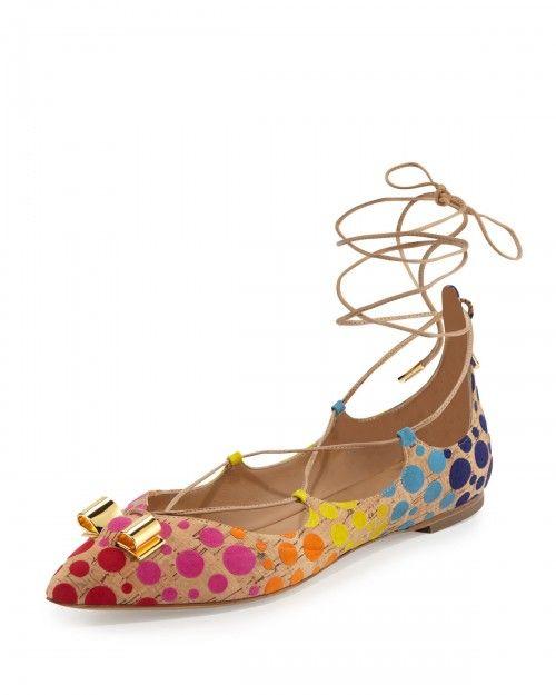 Salvatore+Ferragamo+Claire+Polka+Dot+Lace+Up+Flats+Sable+Women's+35+0b+5+0b+|+Footwear