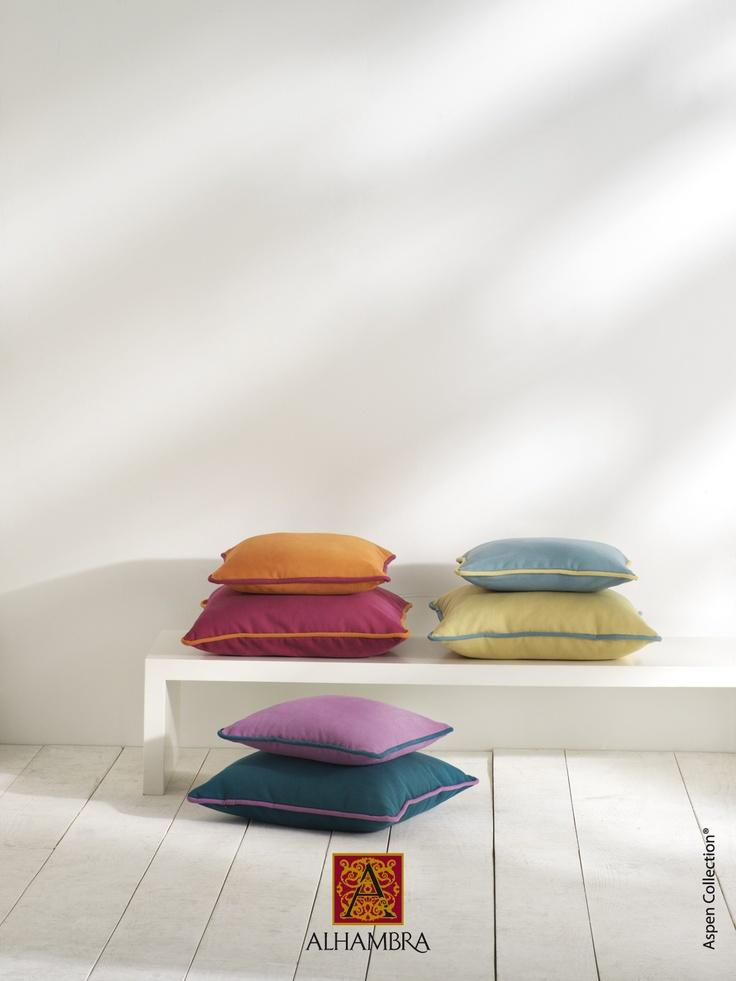 #Alhambra #Aspen #fabrics #design #cushions Kolorowe poduszki - http://www.mkstudio.waw.pl/dekoracje/tkaniny-obiciowe/