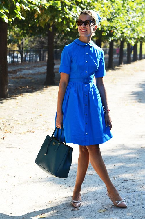 Natalie Joos  Image Via: A Feminine Tomboy: Colors Streetstyle, Lovely Dress, Prada Bag, Style Inspiration, Street Style, Dresses, Style File, Electric Blue