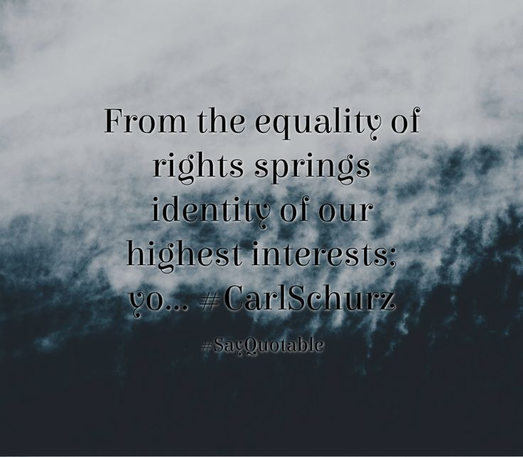 Quotes about From the equality of rights springs identity of our highest interests; yo... #CarlSchurz   with images background, share as cover photos, profile pictures on WhatsApp, Facebook and Instagram or HD wallpaper - Best quotes