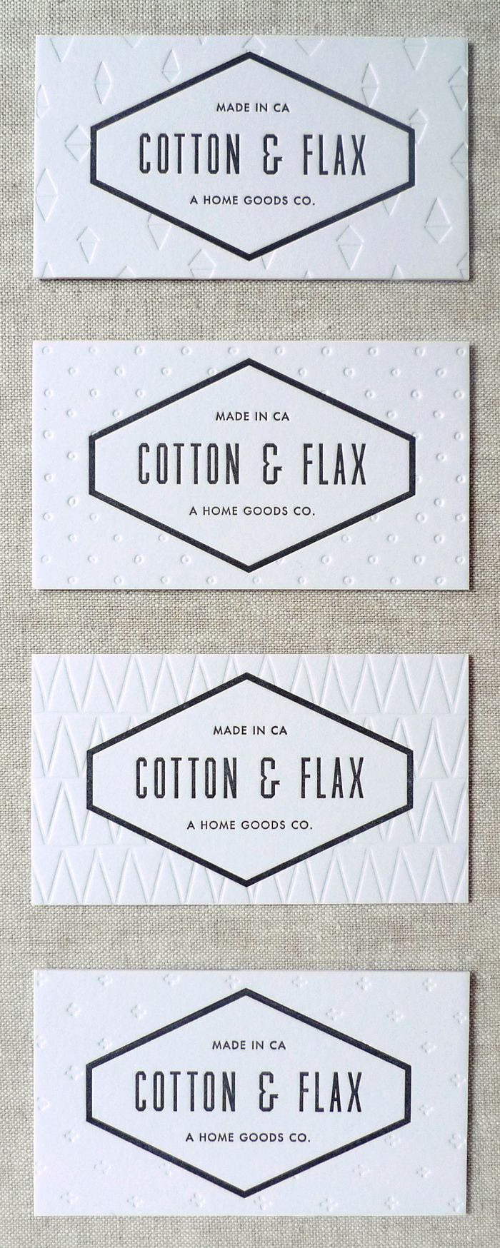Cotton & Flax business cards (letterpress printed by Luludee)