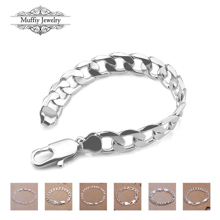 Wide Design Bracelet,Classic Style European Link Chain 925 Sterling Silver Fashion DIY Jewelry Gift For Tf Men And Women