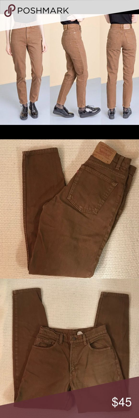 Brown Vintage Levi 550 Jeans Brown Vintage Levi 550 Jeans in waist size 27. Good vintage condition with no stains or holes. Measurements are as follows: Waist: 27 inches  Inseam: approx 31 inches  Rise: 11 inches Levi's Jeans