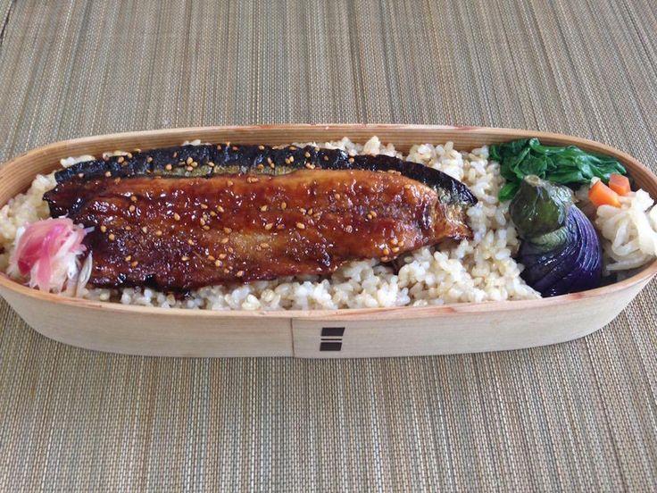 玄米250g、秋刀魚蒲焼、茗荷甘酢漬、小茄子揚げ浸し、切干大根、小松菜塩茹