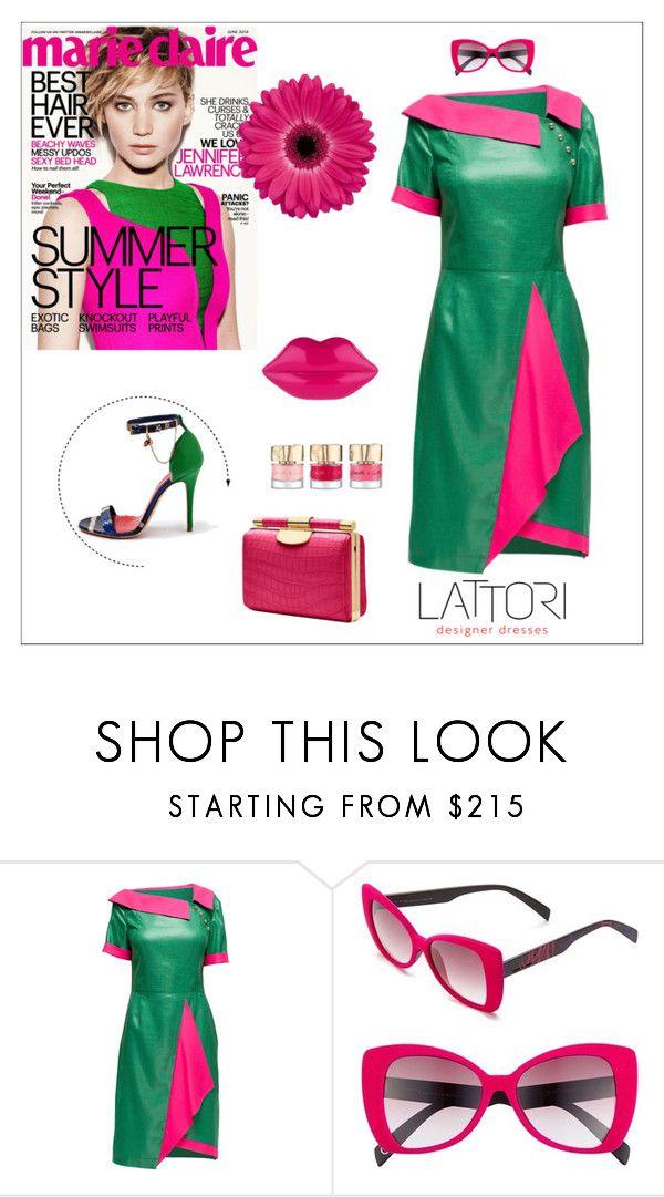 """Green and Crimson Dress"" by lattori ❤ liked on Polyvore featuring moda, Lattori, Italia Independent, dress, dresses y lattori"