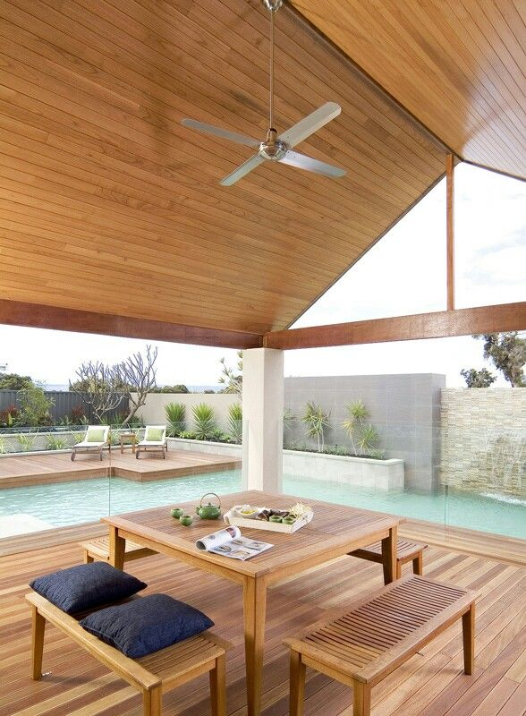 Ceiling. Glass fence. Pool