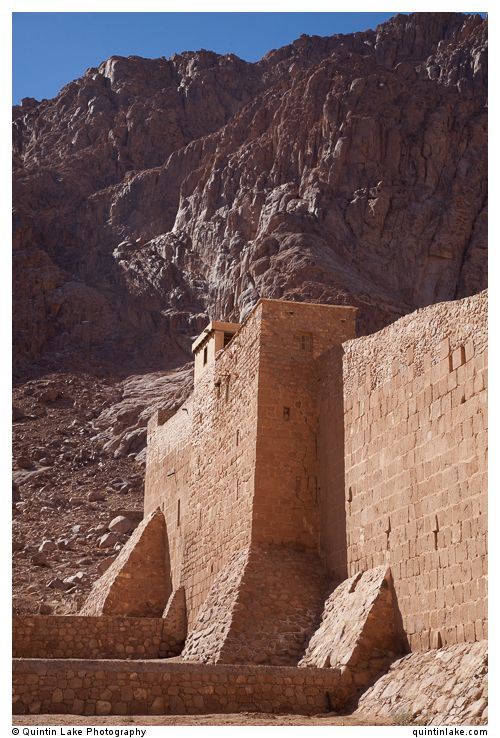 Much of the walls have stood for 14 centuries, Saint Catherine's Monastery below Mount Sinai