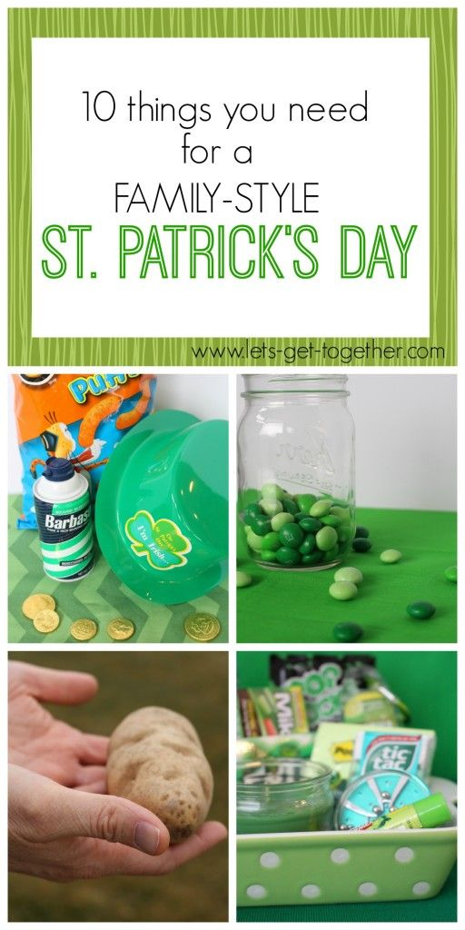 St. Patrick's Day Party from Let's Get Together-10 ideas for a fun, family-friendly party. Several games! www.lets-get-together.com #stpatricksday #familygames