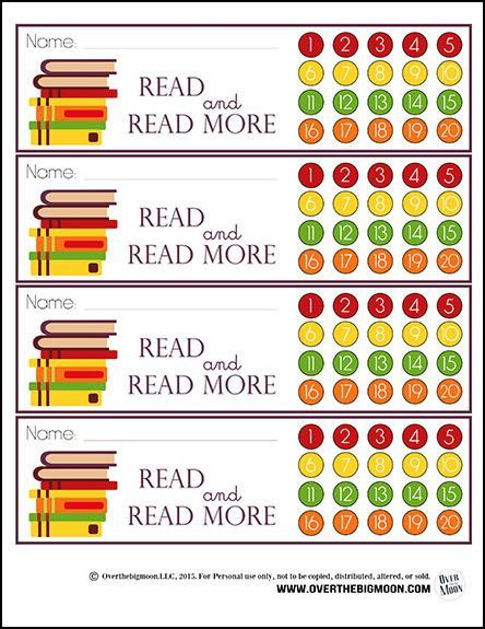 Printable Reading Bookmarks with Punchcard Option! Great way to help motivate your kids to read nightly, with a reward at the end of the month! From http://www.overthebigmoon.com!
