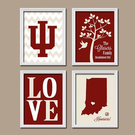 Indiana University College Custom Family Monogram Initial State LOVE Bird Tree Wedding Date Artwork Set of 4 Prints Wall Decor Art