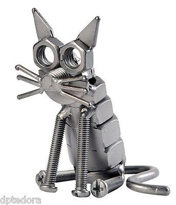Hand Crafted Metal Reciclado Estatueta Escultura Arte Cat
