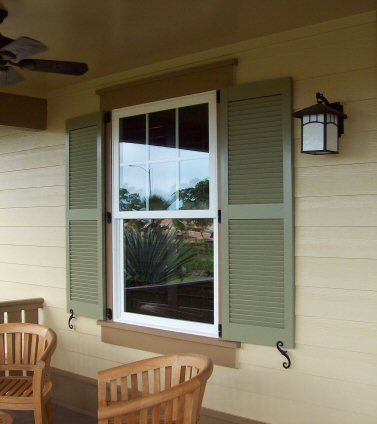 exterior shutters like the difference in colors between main house. Black Bedroom Furniture Sets. Home Design Ideas