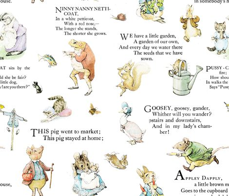 Beatrix Potter Peter Rabbit Nursery Rhymes Fabric By Vintageamelia On Spoonflower Custom