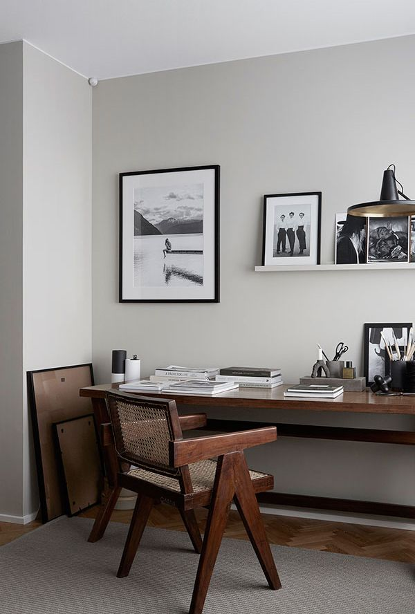 Pale grey home office