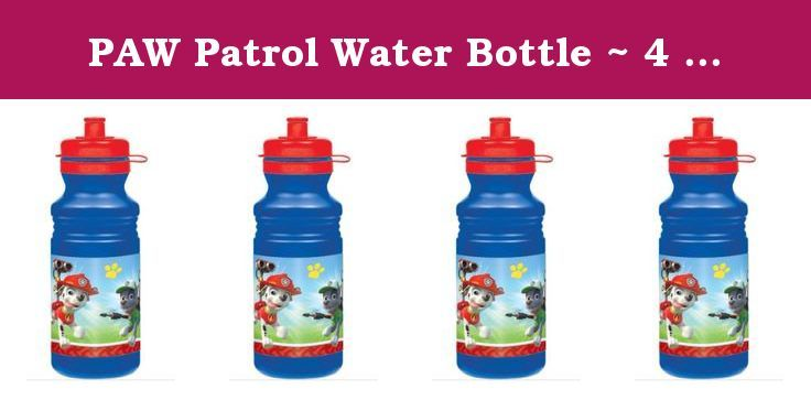 PAW Patrol Water Bottle ~ 4 Pack. Stay hydrated out in the field! Our PAW Patrol Water Bottle features a cool image of Rubble, Chase, Marshall, and Rocky heading out for adventure as well as colorful paw print and dog bone patterns. The red push-pull spout, pop-off lid and molded surface makes this blue water bottle easy to carry along to any rescue. This PAW Patrol bottle makes a great gift and party prize at your little rescuer's birthday party!.