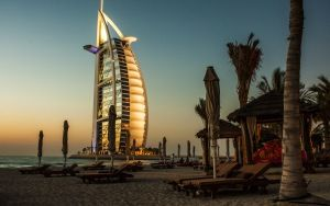 Preview wallpaper dubai, burj al arab, palm trees, deck chairs, beach