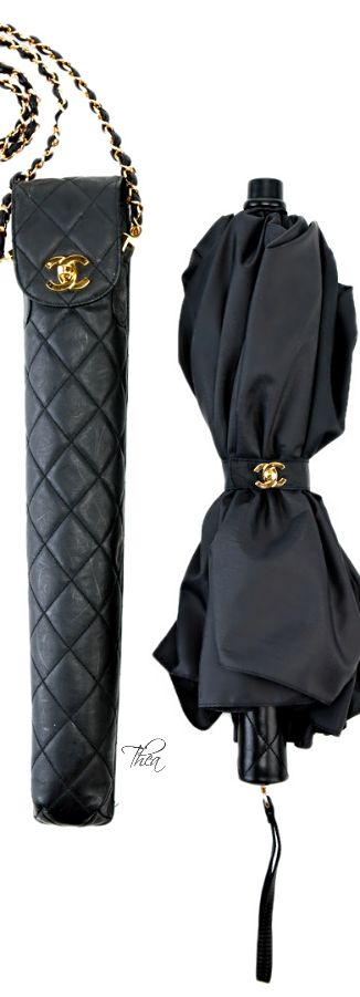 Chanel Black Umbrella with Quilted Carry Bag great pin!