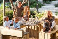 How easy would it be to build this outdoor table & benches with 2x10's...I'm going to!  Patrick Dempsey's Frank Gehry–designed Malibu Estate