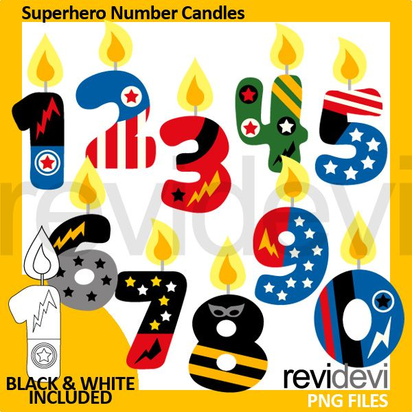 Superhero Birthday Candles Clipart Number In Fun Style Great Clip Art Collection