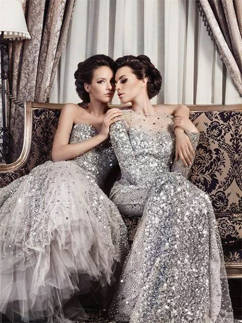 Sparkly bridesmaid dresses - well... too loud. but then she can be easily spotted when you need some help