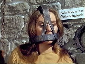 Scold's Bridle: This was a metal frame place over a woman's head. It had a bit that stuck in her mouth to prevent her talking. The scold's bridle or branks was used in Scotland by the 16th century and was used in England from the 17th century. It was last used in Britain in 1824