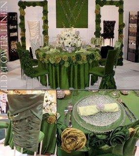 Hunter green wedding table linens