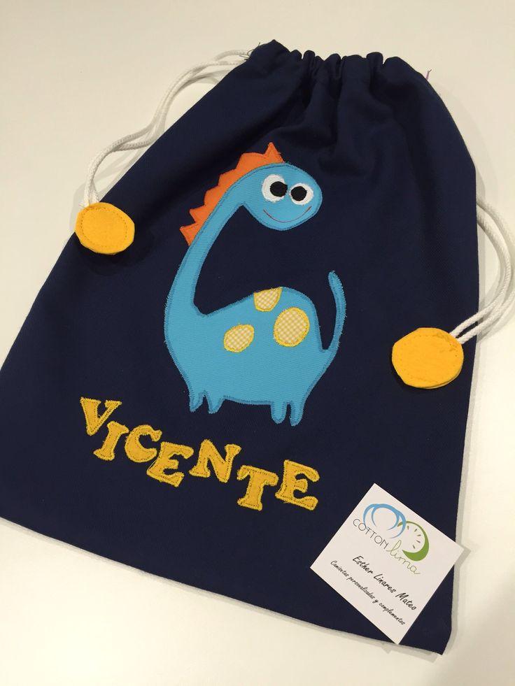 Bolsa de merienda personalizada #dinosaurio #tute #bag #bolsa #merienda…