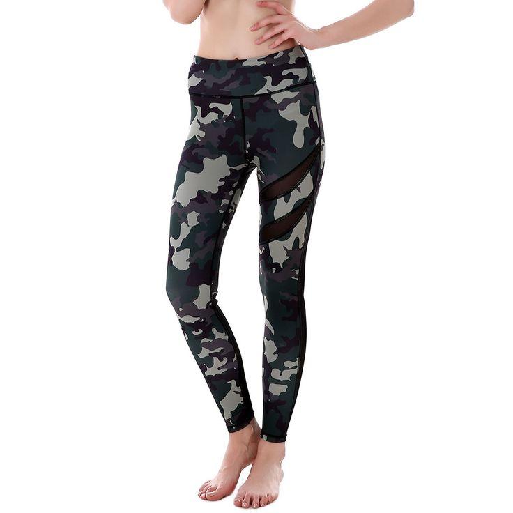 Green camouflage Camo Prints gym leggings women black spodnie damskie legins sport fitness  cargo pants Mesh hollow yoga pants #Affiliate