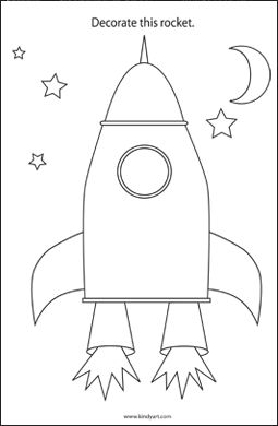 Decorate the rocket colouring page. Cut out foil strips and glue on to make it silver.