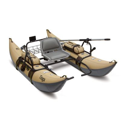 Tioga Inflatable 9-Ft. Pontoon Boat with Stowable Transport Wheel