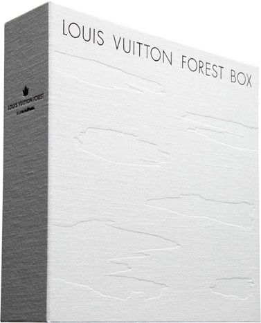 Multimedia box set from Louis Vuitton Japan includes CD by Tyuichi Sakamato, nature photos by Mikiya Takimoto, wood chips from forests of Japan, and bottled perfume.