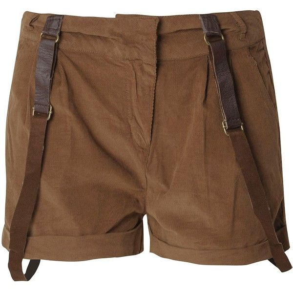 BLONDE & BLONDE Braced Shorts ($15) ❤ liked on Polyvore featuring shorts, bottoms, pants, short, women, cotton shorts, cuffed shorts, zipper shorts, brown shorts and short shorts