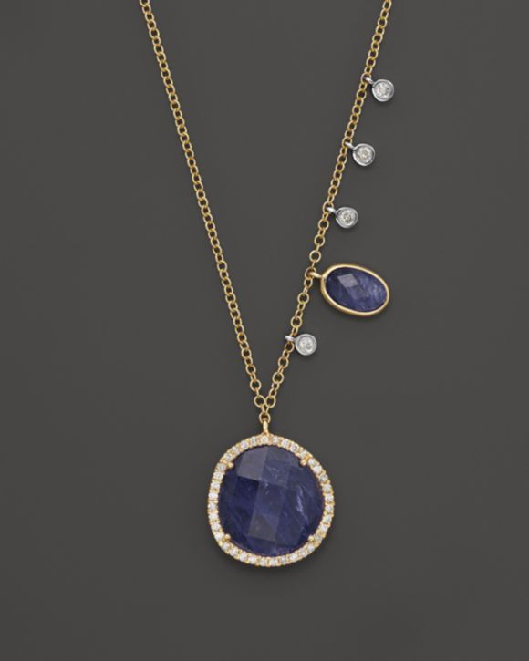 """Meira T Diamond and Tanzanite Pendant Necklace in 14K Yellow Gold, 16"""" 