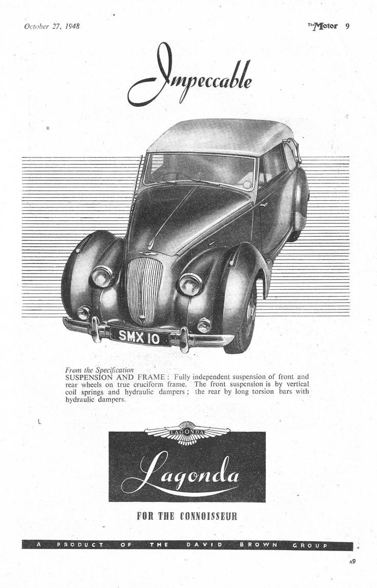 The 50 Best Mauricio Images On Pinterest Car Posters Antique Cars Starting Circuit Diagram For 1940 52 Buick All Models Except Dynaflow Impeccable Lagonda Autocar Or Motor Advert 1948