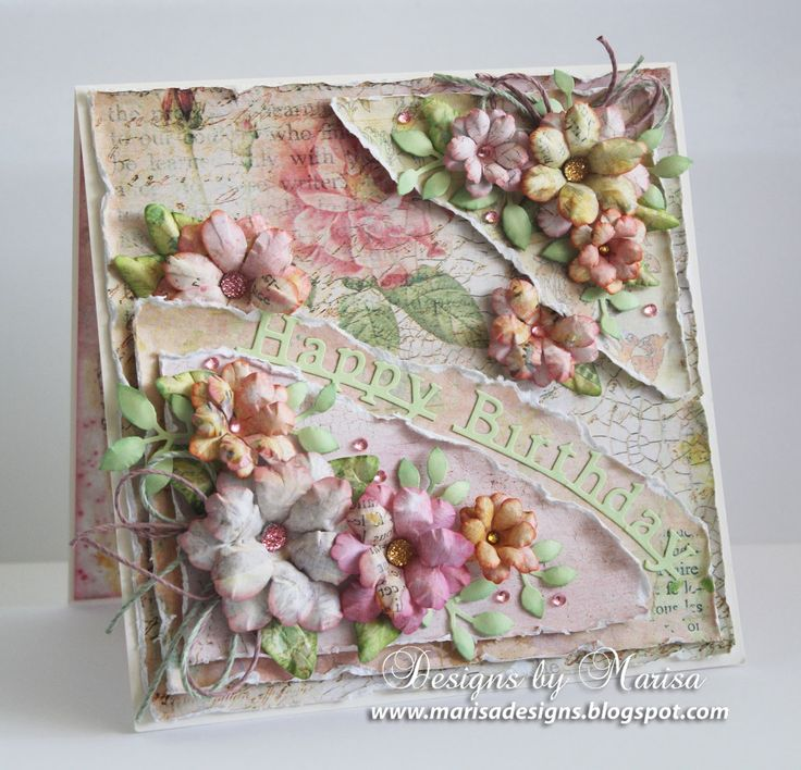 Handmade Birthday Card From Designs By Marisa Craft Hoarders Anonymous Shabby Chic