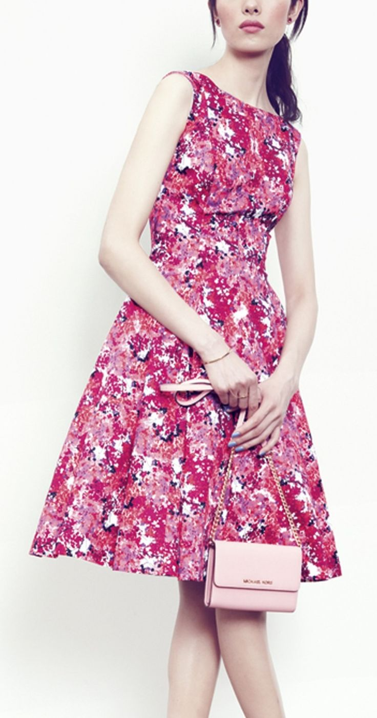 Maggy London Print Stretch Cotton Sateen Fit Amp Flare Dress